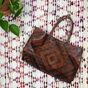 Vintage Western Boho Geometric Leather Tote Bag
